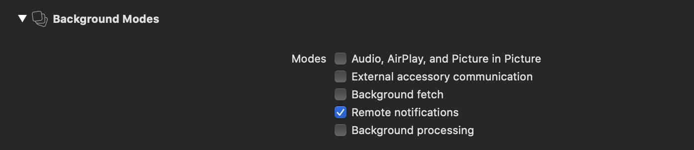 Background notifications capability settings
