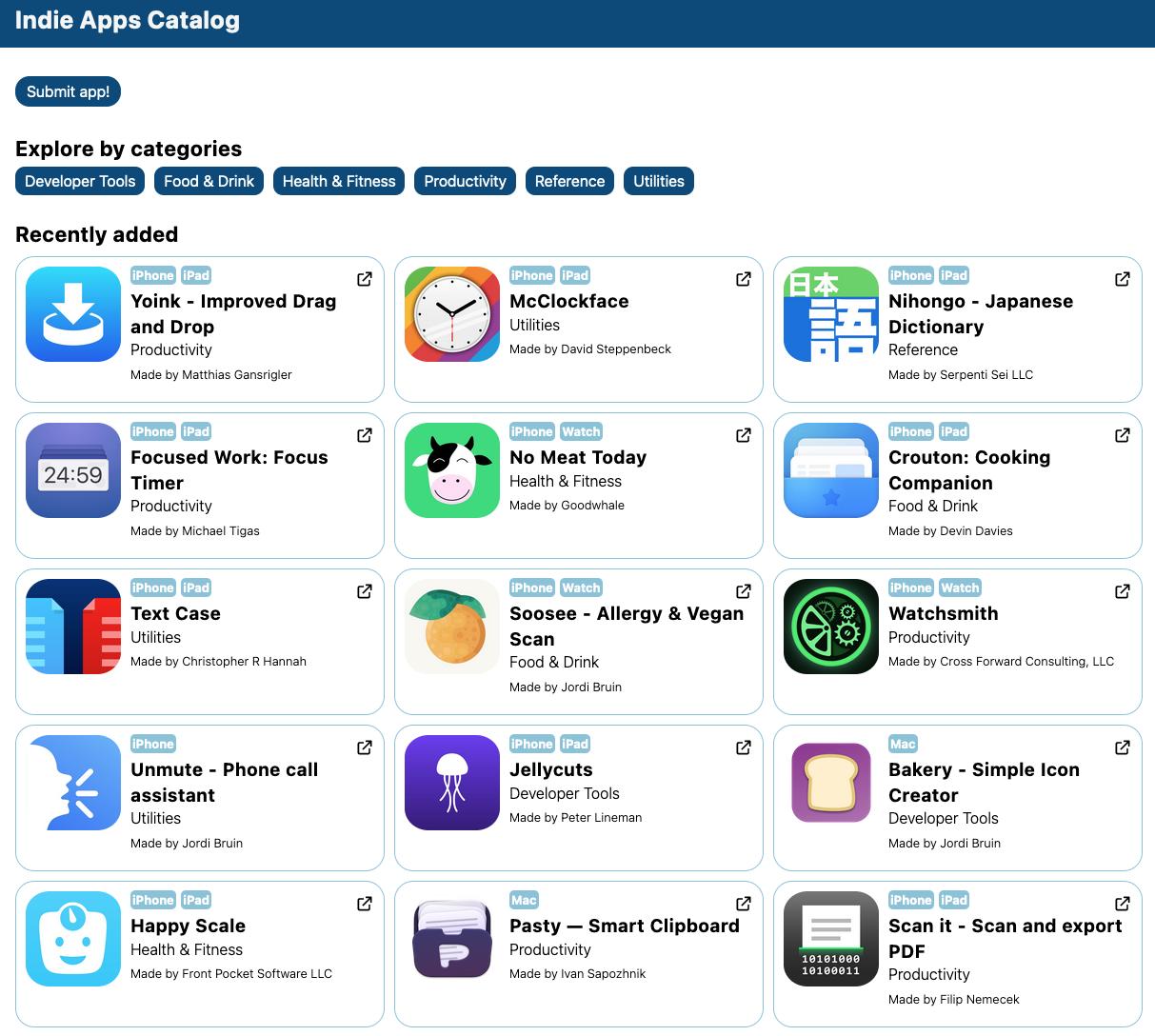 Indie Apps Catalog progress update